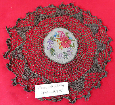 Antique Hungarian Needlepoint Petitpoint Embroidery Gold Crochet Lace Doily Vtg