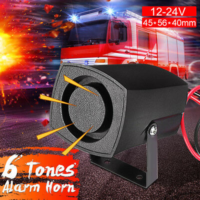12-24V Car Warning Alarm 6 Tones Car Siren Alarm Police Fire Horn Loud Sound Saf