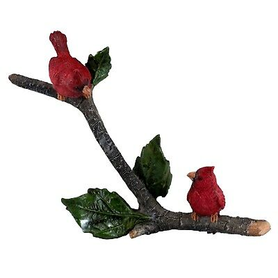 "Mini Miniature Cardinals On Branch Bird Figurine 4.5"" Long New In Box!"
