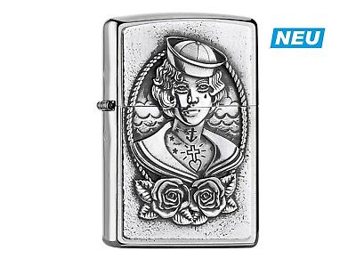 "ZIPPO ""SAILOR GIRL"" BRUSHED CHROME EMBLEM 3D LIGHTER ** NEW in BOX **"