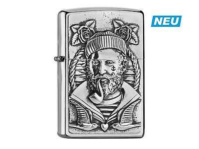 "ZIPPO ""SAILOR MAN PFEIFE"" BRUSHED CHROME EMBLEM 3D LIGHTER ** NEW in BOX **"