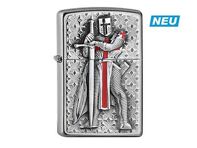 "ZIPPO ""TEMPLER II"" BRUSHED CHROME EMBLEM LIGHTER ** NEW in BOX **"