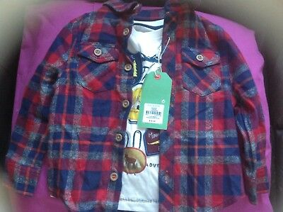 Primark T shirt and check shirt set bnwt, 12-18 months boys