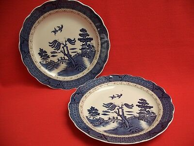 """2 Royal Doulton Booths ~ Real Old Willow ~ 10"""" Dinner Plate Majestic Collection"""