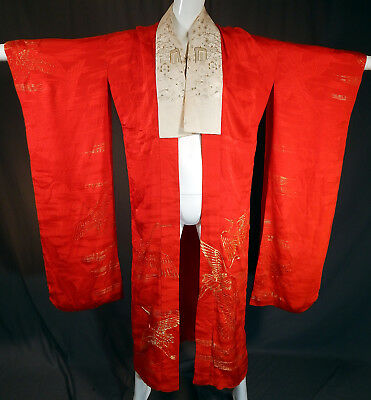 Antique Japanese Red Silk Gold Embroidered Cranes Furisode Ceremonial Kimono Vtg