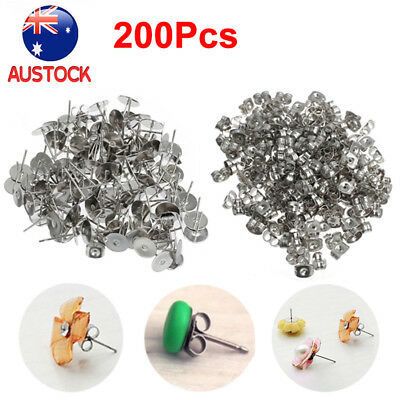 100Pair Earring Stud Posts 4/6/8mm Pads & Nut Backs Silvery Surgical Steel DIY G