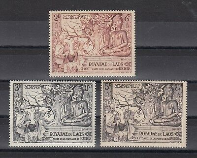 Timbre Stamp  3  Laos  Y&t#30-32 Temple Bouddha Neuf**/mnh-Mint 1956 ~B70