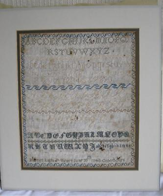 """Antique Sampler by """"Harriet Light-7 years-June 30th 1848-Otterbourn"""""""
