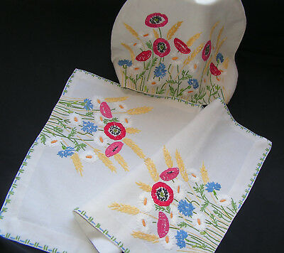 B'ful Vtg All Hand Embroidiered Anenome & Cornflower Tea Cosy Cover & Sm Cloth