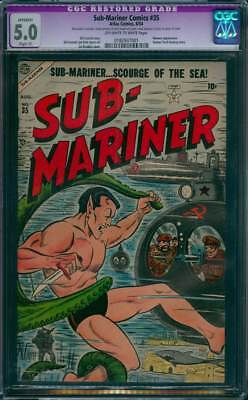 Sub-Mariner Comics # 35  Scourge of the Sea !   CGC 5.0 scarce GA Timely !
