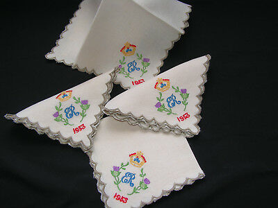 4 B'ful Vtg 1953 Queen Elizabeth Coronation Embroidered Thistle & Crown Napkins