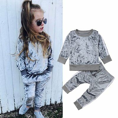 Toddler Kids Baby Girls Casual Long Sleeve Tops T-shirts+Pants Clothes Outfits