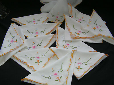 12 Lovely Vintage Hand Embroidered White Cotton Table Napkins