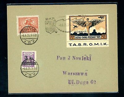 Poland 1921  Air Service Cover  Black Wing  Postmark    (S879)