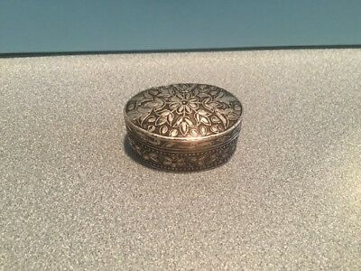 Old German Sterling Silver (800 Silver) Trinket Pill  Box Floral Oval  17.5