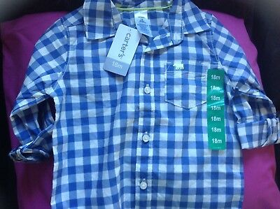 Carter's boys 18 months shirt blue white checked