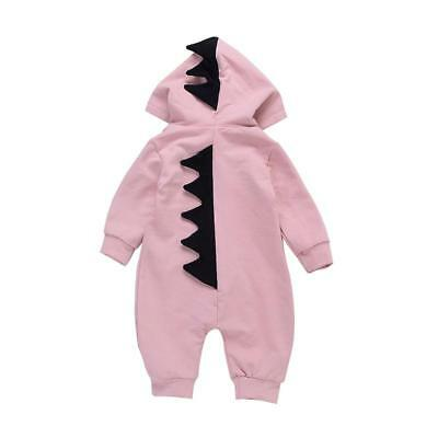 Baby Girl Cartoon Dinosaur Design Hooded Romper Jumpsuit Jumper Outfit BS