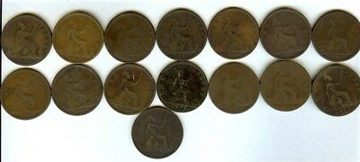 Great Britain 1860-1880 Large Penny Collection 15 Coins