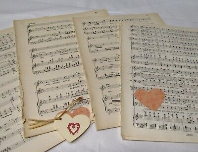 **20 sheets Vintage Manuscript Music Paper, Decoupage, Art Projects, Crafting,