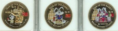 Great Britain 1999 Macau Returns To China 3 Coin Rabbit Proof Set - Colorized -