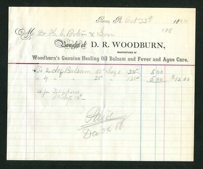 1888 Antique Medical Bill Quack Medicine Woodburn's Genuine Healing Oil Balsam