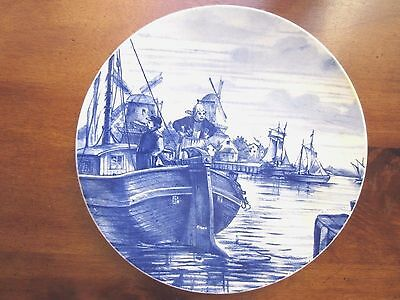 """Antique Villeroy Boch Delft Wall Plate of Masted ships and Windmill, 10"""" dia"""