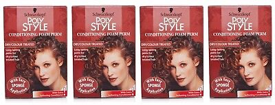 4x Schwarzkopf Poly Style Conditioning Foam Perm Dry/Coloured Hair