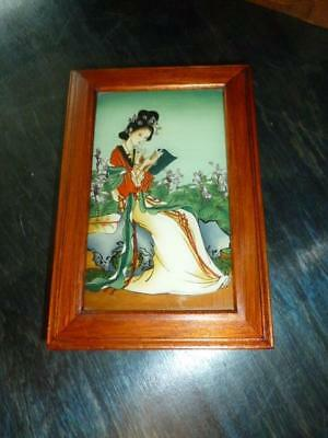 Vintage Chinese Reverse Painting Glass Woman in Garden Wooden Jewelry Box