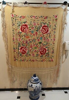 Antique Chinese Hand Embroidered Multi Color Piano Shawl 125 X 133 Fringe 54 Cm