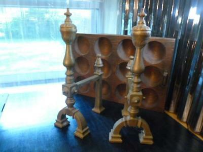 "Pair Vintage Brass Andirons Fire Dogs Log Holders Fireplace Set Sm 15"" Tall"