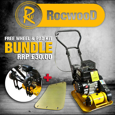 """Petrol Compactor Compaction Wacker Plate RocwooD 12"""" With FREE Pad & Wheel Kit"""