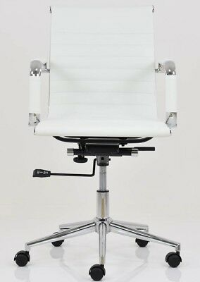 Lakeland Furniture Casino Faux Leather Swivel Gas Lift Office Chair - White A