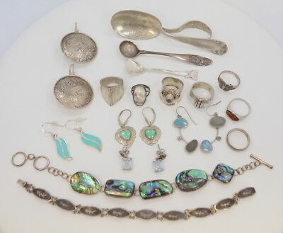 Large Lot of Sterling Silver 925 Wearable/Usable Jewelry & Spoons Gemstones