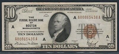 1929 $10 *Bank of Boston, MA* Federal Reserve Bank Note*Free S/H After 1st Item*