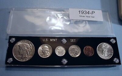 1934 U.S. 6 COIN SILVER SET w/DOLLAR LOOKS MINT UNCIRCULATED TERRIBLY SCARCE