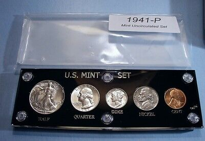 1941 MINT SILVER SET of U.S. COINS LUSTROUS BRILLIANT UNCIRCULATED FLASHY SET!
