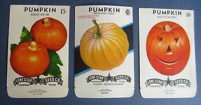 Lot of 3 Old Vintage PUMPKIN - SEED PACKETS - Jack O'Lantern - Pie - Kentucky