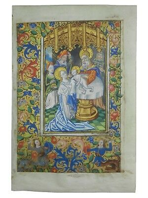 C1470 Medieval Vellum Illuminated Manuscript Leaf | Book Of Hours Miniature