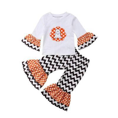 S-182 Girl's Halloween 2PC Zig Zag Ghost Outfit Sizes 12M to 4T (Free Shipping)