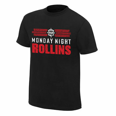 Wwe Monday Night Rollins Authentic T-Shirt Wrestling Raw M/middle Seth Shield