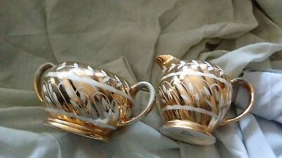 Mailing?gold Coloured Sugar Basin & Match Jug Two Handles Little Worn On Handles