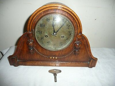 Antique, HAC Mantle Clock in Beautiful Oak Case, Working Order With Key.