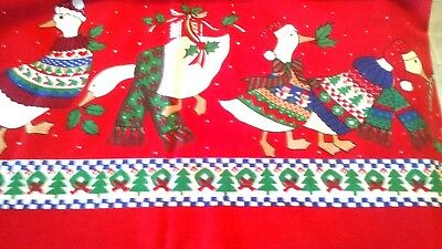 vintage Christmas tablecloth holiday Geese in sweaters Cotton  blend 60 x 80