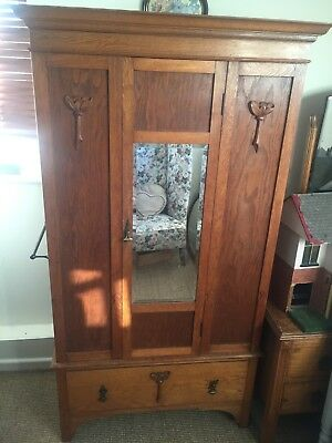 childs rosewood 1920's wardrobe With Draw