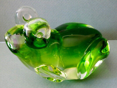 """Murano Style Green Glass Heavy Frog Figurine Paperweight - 6""""w X 4 1/2""""h"""