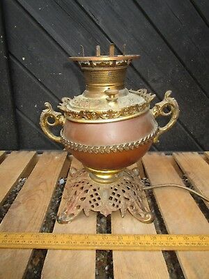 Antique Brass Parker Oil lamp converted to electricity - spare parts / repair .