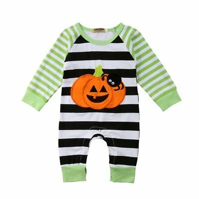 S-265 Infant Halloween Romper w/Pumpkin and Stripes Size 3M-18M  (Free Shipping)