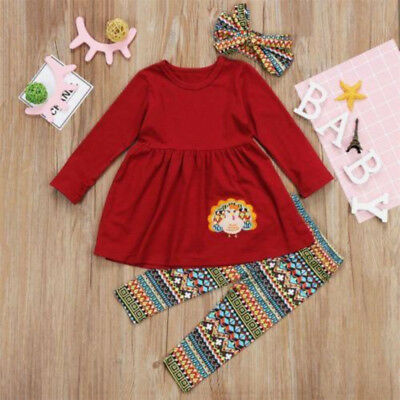 S-483 Girl's Toddler 3PC Fall Thanksgiving Set Sizes 3T-7T (Free Shipping)