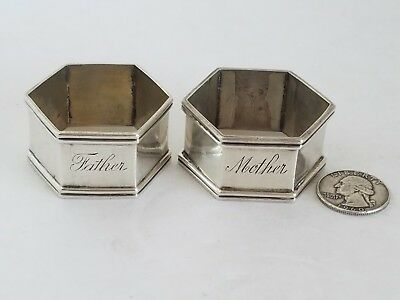 "Vintage Sterling Silver ""Mother"" ""Father"" Hexagon Napkin Rings 52g"