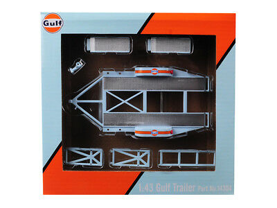 "Tandem Car Trailer With Tire Rack ""Gulf Oil"" For 1/43 Model Cars By Gmp 14304"
